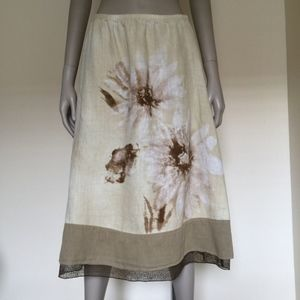 J. Jill linen skirt floral watercolor print brown